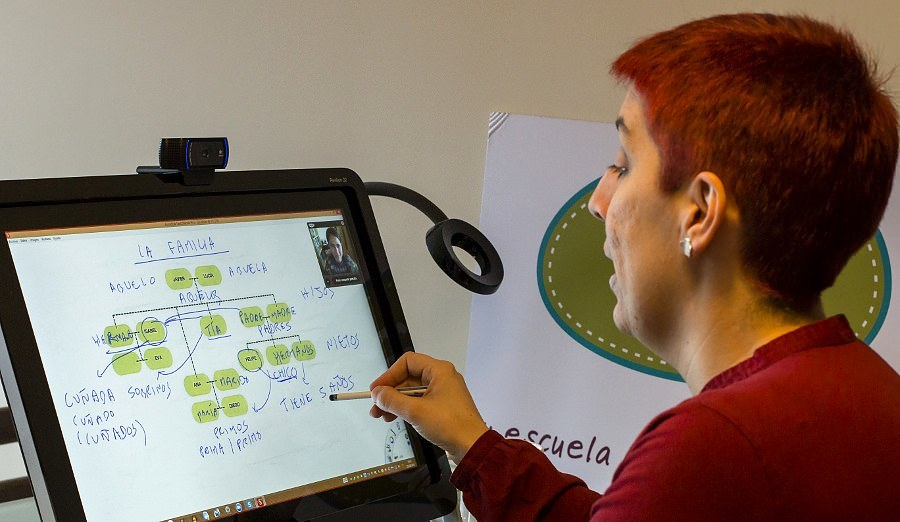 Elena Prieto da una clase online por videoconferencia