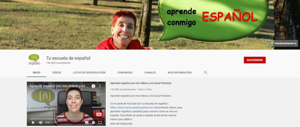 Canal de YouTube de Tu escuela de español