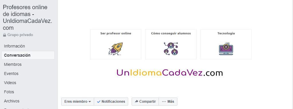 Grupo de Facebook Profesores online de idiomas